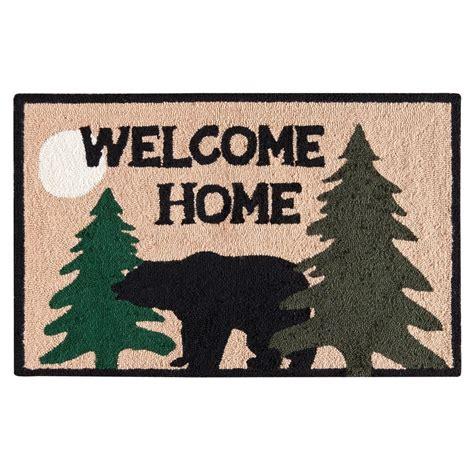 home black bear lodge log cabin washable rug