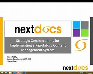 strategic considerations for implementing a regulatory With document management system experience