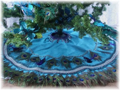 peacock feather christmas trees for sale peacock feather tree skirt wall hanging or tablecover in peacock colors 48 quot 500 00
