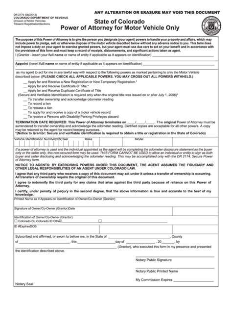form 21 for vehicle registration fillable form dr 2175 power of attorney for motor