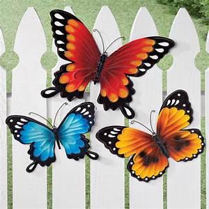 Metal butterflies wall art set of fence decor flower