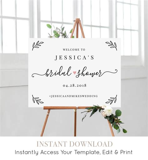 bridal shower  sign template editable wedding