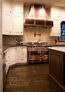 Italian White Kitchen, Copper Hood - Mediterranean