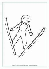 Ski Jumping Colouring Winter Olympics Olympic Sports Coloring Skiing Pages Olympische Crafts Preschool Printable Games Activities Freestyle Skating Sport Jumper sketch template