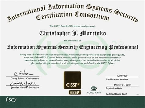 Cissp Resume Requirements by This Is Christoperj Now Tetra Certified With Issep
