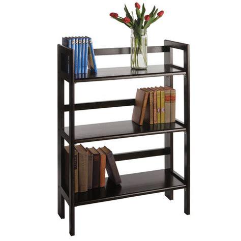 winsome wood folding bookcase shelves 28 inch wide beechwood three tier folding shelf
