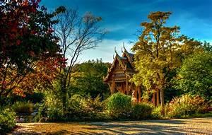 Germany, Parks, Pagodas, Autumn, Bavaria, Trees, Shrubs, Sendling