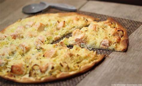 pizza blanche saumon et poireaux