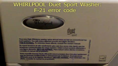 whirlpool duet error f21 code sport fix