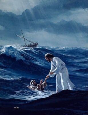 Jesus Reaching for Peter Walking On Water