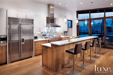 modern kitchen  zebrawood cabinetry luxe interiors design