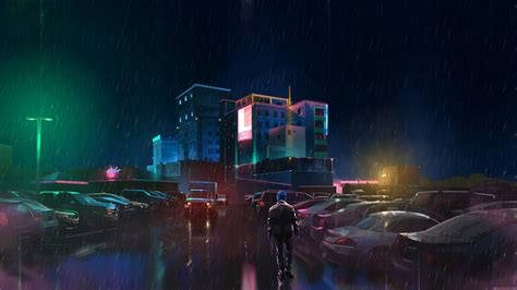 rain neon digital art hd wallpapers desktop  mobile