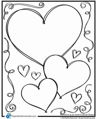 Printable Coloring Heart Valentine Hearts Popular
