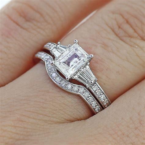 2 65ct emerald cut diamond engagement ring matching wedding band 14k gold ebay