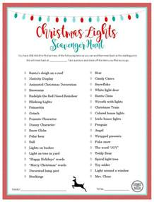 christmas light scavenger hunt free printable list and invitations double the batch