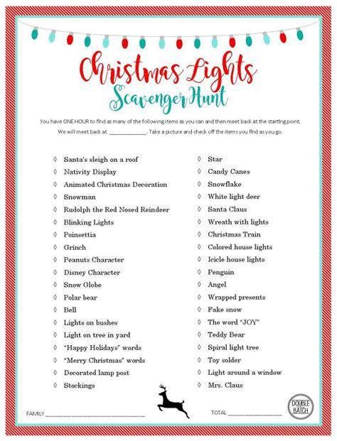 christmas light scavenger hunt free printable list and