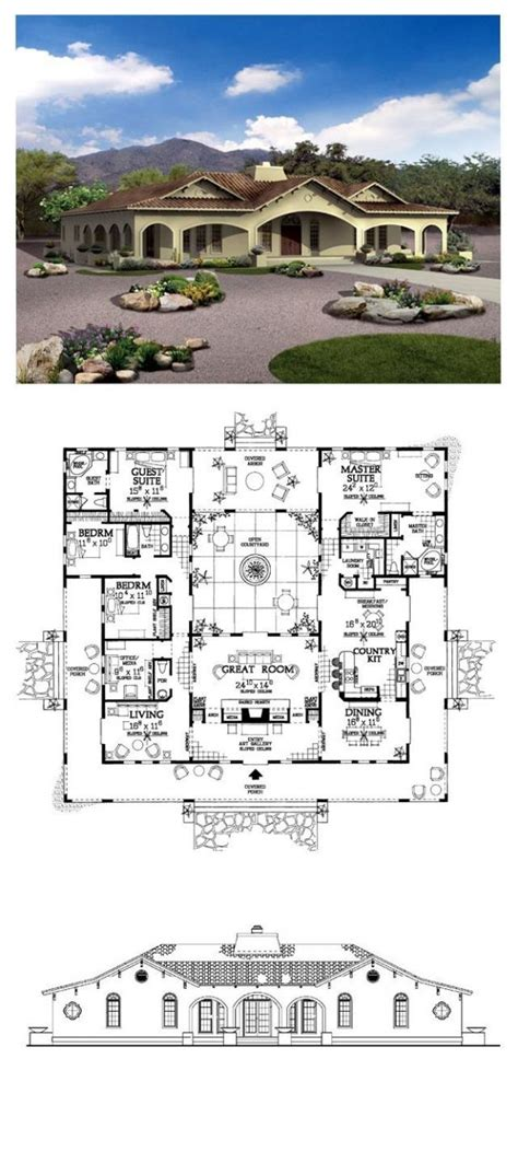southwest style home plans territorial style house plans southwest at adobe with courtyard luxamcc