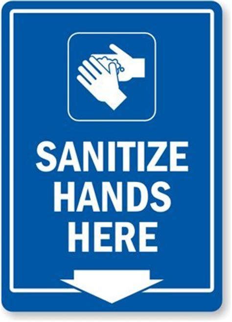 Sanitize Hands Here (with Down Arrow Symbol), Plastic Sign