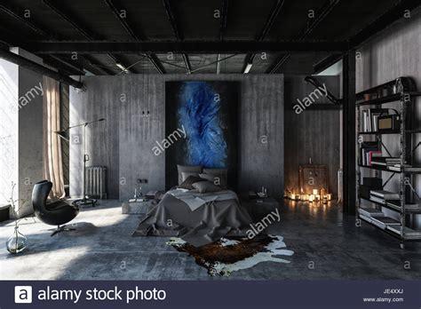 Loft Der Moderne Lebensstilkochinsel Im Loft by Schlafzimmer Im Modernen Schwarzen Und Grauen Interior