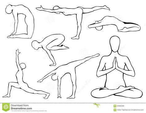set  yoga asanas stock vector image