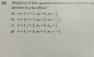 Solved  Q5  Which Set Of Four Quantum Numbers Corresponds