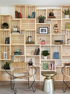 Bibliotheque Bois Clair : 1001 id es et tutos pour fabriquer un meuble en cagette charmant ~ Teatrodelosmanantiales.com Idées de Décoration