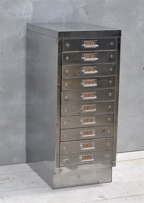 metal drawers for kitchen cabinets vintage industrial steel filing cabinet 10 drawer home barn 9146