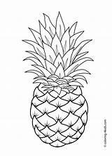 Coloring Pages Pineapple Fruit Printable Fruits Drawing 4kids sketch template