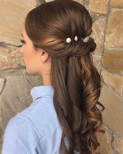 Pretty Half up half down wedding hairstyle partial updo