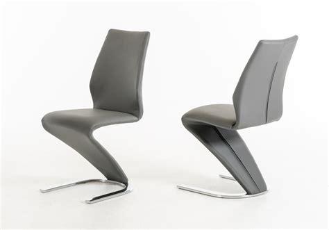 penn modern grey leatherette dining chair set of 2