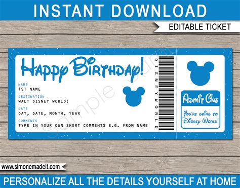 birthday surprise trip  walt disney world ticket