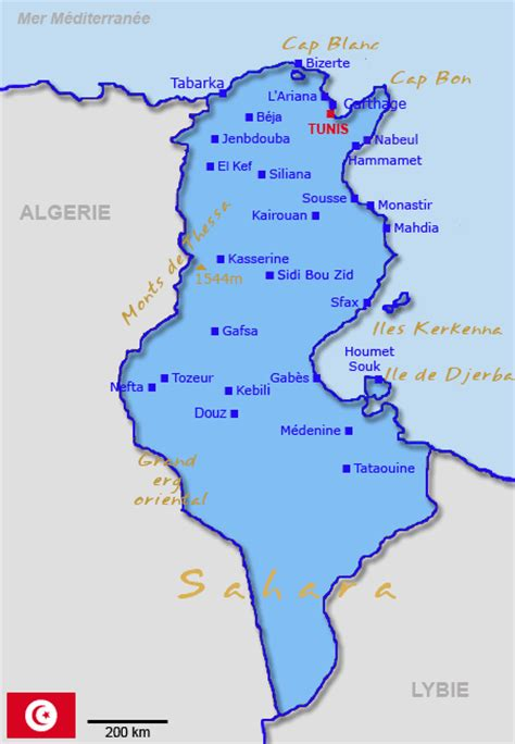 Carte De Tunisie Avec Villes by Carte Tunisie Villes Montagnes D 233 Serts 238 Les Caps