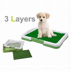 3 layer pet dog potty toilet training pad tray mat grass With dog bathroom training