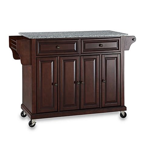 crosley rolling kitchen cart island  solid granite