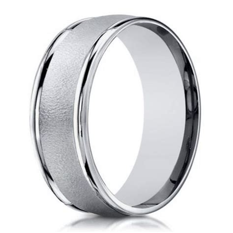 designer white gold wedding ring for men 6mm width