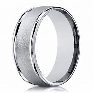 6mm men39s sand blasted 18k white gold designer wedding With mens wedding rings 18k white gold