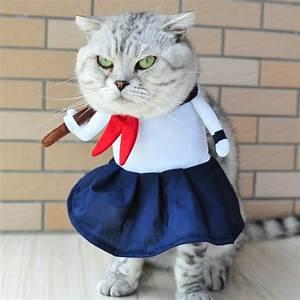 Funny Dog Cat Costumes High School Uniform Cosplay Suit ...