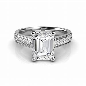 hand engraved vintage style emerald cut diamond engagement With wedding ring emerald cut