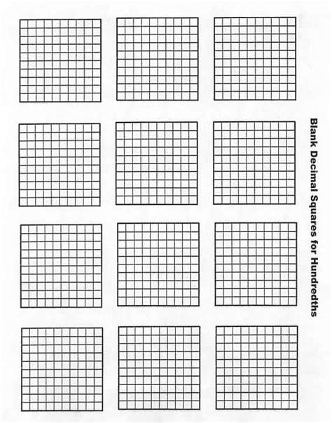 blank hundredths decimal squares decimal squares