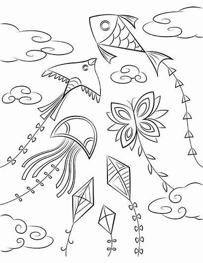 Kite Colouring Coloring Printable Clipart Pages Transparent