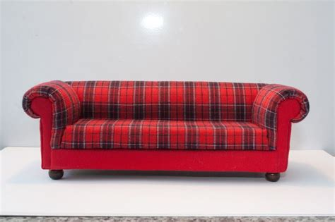 tartan chesterfield sofa tartan chesterfield style dolls house sofa 12th scale