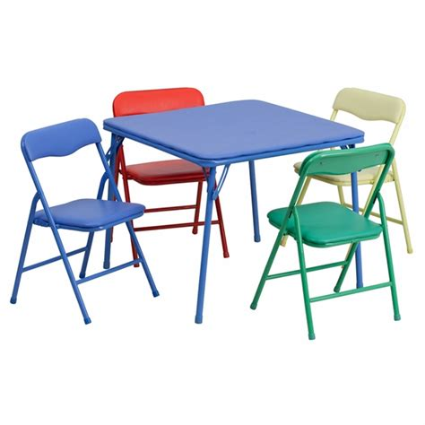 colorful 5 folding table and chair set