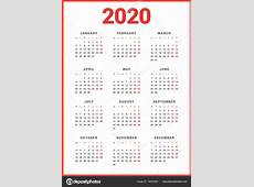 白い背景の 2020 年のカレンダーです。月曜始まり。単純なベクトル テンプレート。文房具のデザイン テンプレート