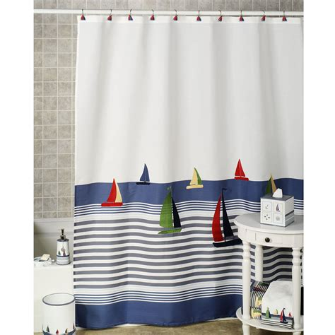 nauticalshowercurtainsandbathaccessories home regatta shower curtain bluewhite