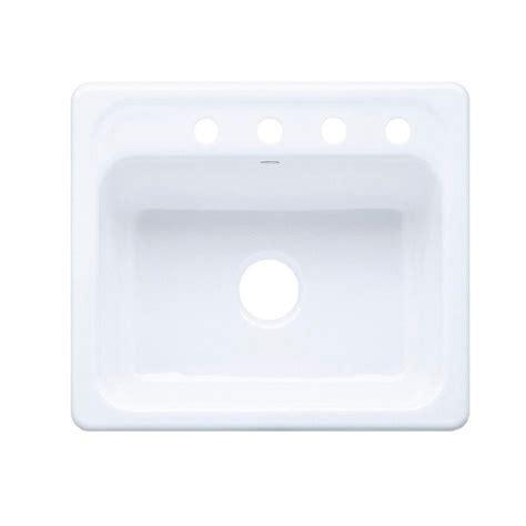 white single bowl drop in kitchen sink kohler mayfield drop in cast iron 25 in 4 single 2220