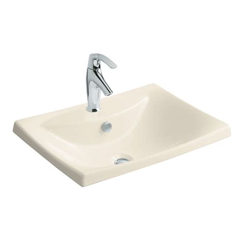 Drop In Bathroom Sink Replacement by Shop Kohler Escale Almond Clay Drop In Rectangular