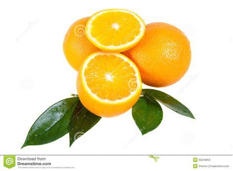 Orange Fruit With Leaves Stock Photos Image