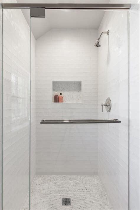 white walk  shower  small mosaic tiles hgtv