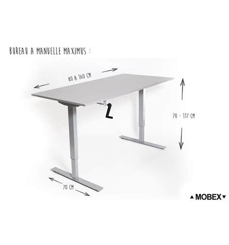 hauteur de bureau standard bureau réglable en hauteur par manivelle maximus de mobex