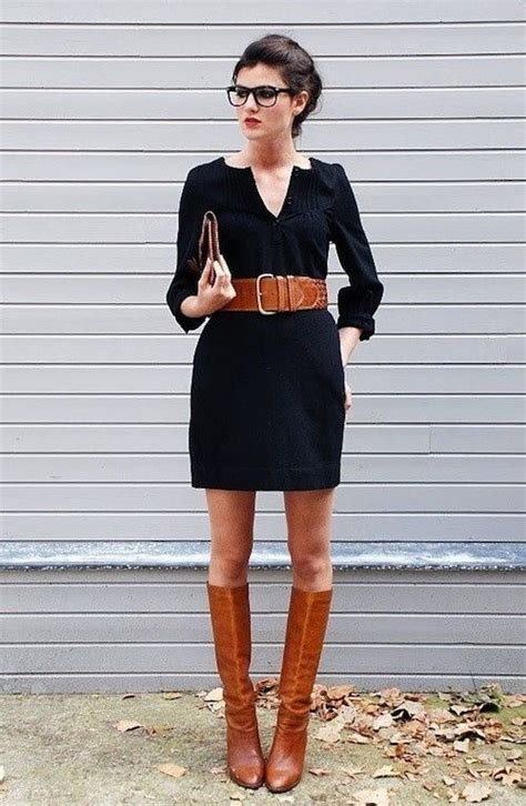 Black dress and brown boots... perfect fall outfit for work   style   Pinterest   Brown belt ...